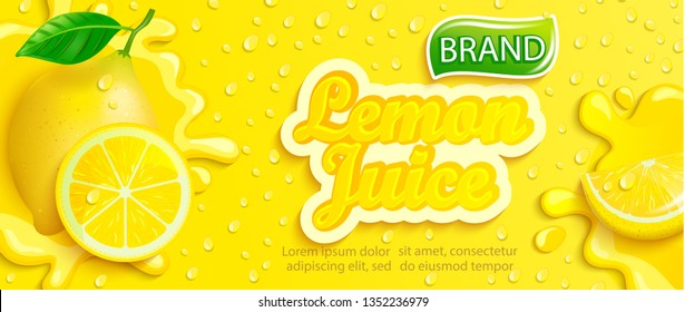 Fresh lemon juice splash banner with drops from condensation, fruit slice on gradient yellow background for brand