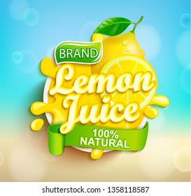 Fresh lemon juice splash logo on bokeh background, fruit slice and realistic natural citrus for brand,banner, template,label,emblem,store,packaging,advertising, poster.Vector illustration