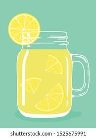 Fresh lemon tea drink with lemon pieces in glass vintage mason jar. Healthy natural delicious refreshing citrus fruit hot beverage. Vector illustration.