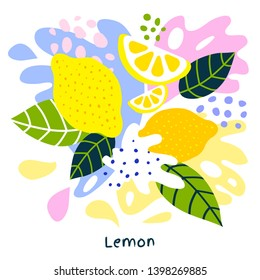 Fresh lemon tropical exotic citrus fruits juice splash organic food juicy splatter lemons on abstract background vector hand drawn illustrations