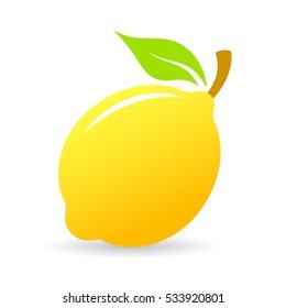 Fresh lemon vector icon illustration isolated on white background. Limon icon. Lemon tree vector illustration.