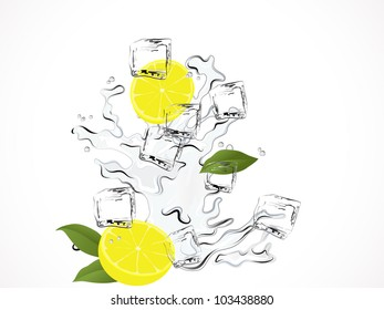 Fresh lemon water with ice cubes