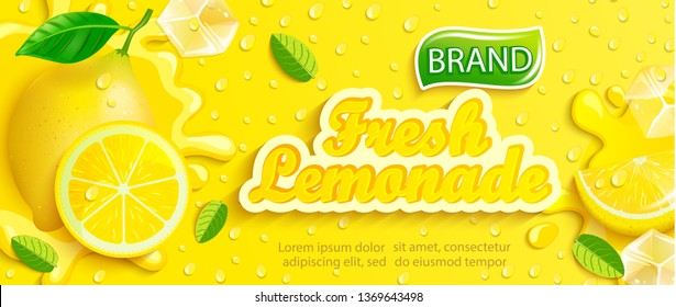 Fresh lemonade banner with lemon, splash, fruit slice, ice cubes and drops on gradient yellow background for brand, logo, template, label,emblem and store,packaging, packing and advertising.Vector
