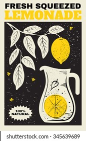 Fresh Lemonade. Illustration of a pitcher of lemonade and a branch with lemons in the background. The poster, label, banner for your design.