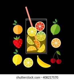 Fresh Lemonade. Illustration of a pitcher of lemonade and fruits.