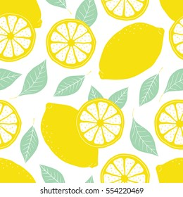 Fresh lemons background, hand drawn icons. Doodle wallpaper vector. Colorful seamless pattern with fresh fruits collection. Decorative illustration, good for printing
