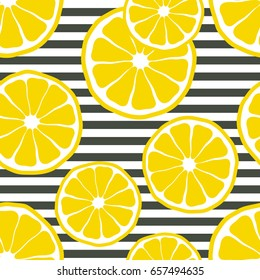 Fresh lemons background, hand drawn icons. Colorful wallpaper vector. Seamless pattern with fresh fruits collection. Decorative illustration, good for printing. Symbol of summer