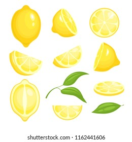 Fresh lemons collection. Yellow sliced citrus fruits with green leaf for lemonade. Vector isolated cartoon pictures of lemons. Lemon citrus food, fresh fruit juicy illustration