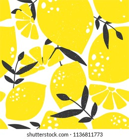 Fresh lemons, leaves background. Hand drawn overlapping backdrop. Colorful wallpaper vector. Seamless pattern with citrus fruits collection. Decorative illustration, good for printing