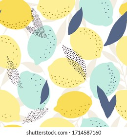 Fresh lemons seamless pattern, abstract citrus background, fresh lemons  backdrop