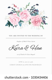 Fresh and light wedding invitation with a bouquet of roses, leaves and spring plants. Elegant vertical card template. Vector illustration.