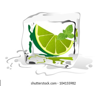 Fresh lime and mint in ice cube