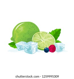 Fresh lime and slice isolated on white background. Vector illustration.
