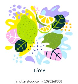 Fresh lime tropical exotic citrus fruits juice splash organic food juicy splatter limes on abstract background vector hand drawn illustrations