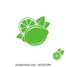 Fresh lime. Vector illustration. Tropical lime with leaves on white background