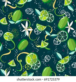 Fresh limes background. Colorful seamless lemonade pattern with fresh fruits,ice, soda water, lime slices, lime peel,  bubbles of gas. Decorative illustration, good for printing