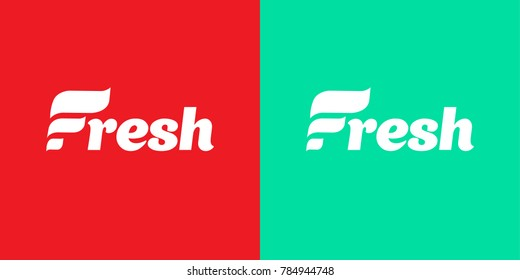 Fresh Logo. Company Logo with word Fresh. Letter F. Creative Logo concept for Dental Clinic or Restaurant, Organic Food Shop. Handwritten word Fresh. Red and Green Fresh Color Background.