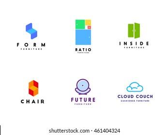 Fresh logo templates set for furniture business.