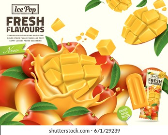 Fresh mango ice pop ads, with sliced mango elements and package design on the right side in 3d illustration for summer
