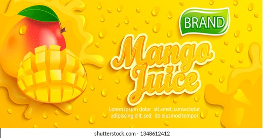 Fresh mango juice splash banner with apteitic drops from condensation, fruit slice on gradient yellow background for brand,logo, template,label,emblem,store,packaging,advertising.Vector illustration