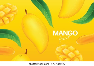 Fresh mango with slices and leaves Vector illustration
