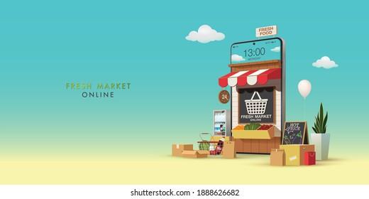Fresh Market Online Banner, Online Market on Mobile Application with Fruit, Vegetable, Fresh Food, milk, drinks and natural product, Online Ordering Vector Illustration Background