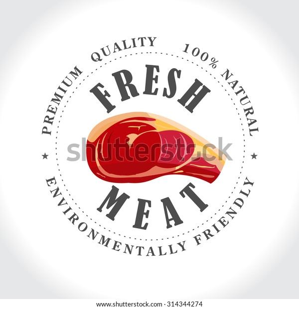 Fresh meat, butcher shop, stamp, vector logo.