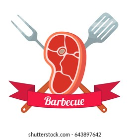 Fresh meat label. Pork, ham, barbecue fork, spatula. Made in cartoon flat style.