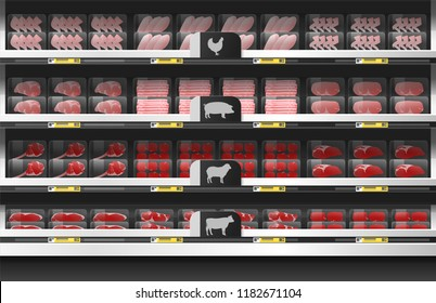 Fresh meat for sale display on shelf in supermarket , vector , illustration