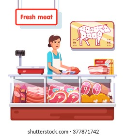 Fresh meat stand in a supermarket. Sales clerk woman worker slicing meat. Modern flat style realistic vector illustration isolated on white background.