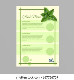 fresh menu A4 paper eps 10 illustration design