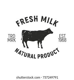 Fresh Milk - Cow vintage logo concept. Cow silhouette. Grunge texture.
