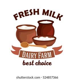 Fresh milk. Dairy farm vector isolated icon. Vector milk pitcher, sour cream jar, milk curd, cottage cheese. Village dairy farm badge.