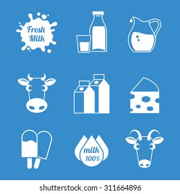 Fresh milk and dairy products icons. Cow and goat, ice cream natural,  nutrition and cheese. Vector illustration