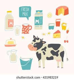 Fresh milk set. Dairy products - milk, yogurt, cheese, butter, milkshake. Vector illustration, isolated on white. Vector hand drawn eps 10 clip art illustration isolated on white background.