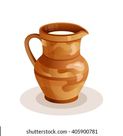 Fresh Milk vector illustration. Ceramic Jug. Beautiful Pottery. Ethnic Crockery. Farm product.