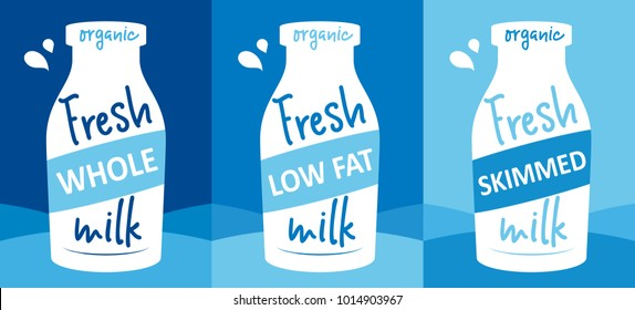 Fresh milk vector illustration - design template with whole, low fat and skimmed milk, a white bottle and lettering. Packaging idea