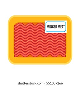 Fresh minced meat in the package. flat vector illustration isolate on a white background