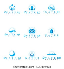Fresh mineral water design emblems like water drops, H2O symbols, wave splash and limitless logotypes. Cleaning services business logos, water treatment concept.