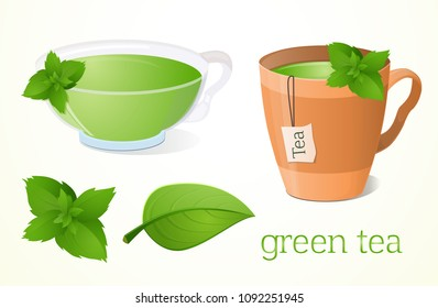 Fresh mint green tea. A cup of tea, a glass. Different drinks. Useful, vegetarian, for a healthy lifestyle, diet, slimming tea. Without background.