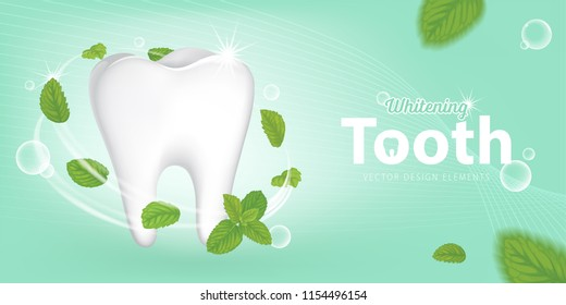 Fresh mint leaves with whitening formula for sparkling shining white healthy clean teeth on green background.