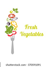 Fresh mixed vegetables on fork. Logo design vector template.