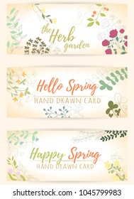 Fresh modern design card of medicinal herbs and flowers. Hand drawn illustration for herbal tea, natural cosmetics, health care products, aromatherapy, homeopathy. Summer art.