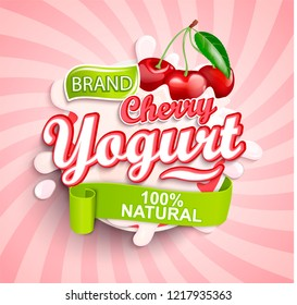Fresh and Natural Cherry Yogurt label splash on sunburst background for your brand, logo, template, label, emblem for groceries, agriculture stores, packaging and advertising. Vector illustration.