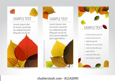 Fresh natural fall vertical banners with leafs and sample text