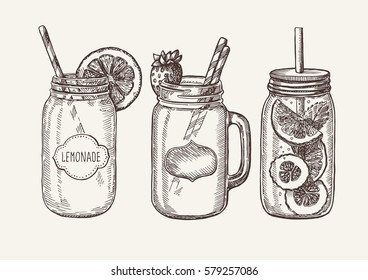 Fresh natural healthy delicious fruit and berry drinks, isolated. Vector hand drawn illustration.