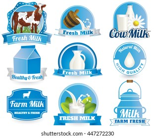 fresh natural milk graphics with cow illustration