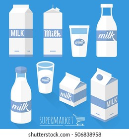 Fresh natural milk vector icon set. Milk box bottle and glass of milk.