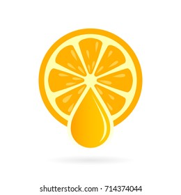 Fresh natural orange juice icon illustration isolated on white background