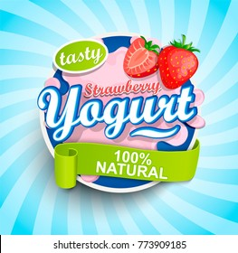 Fresh and Natural Strawberry Yogurt label splash with ribbon on blue sunburst background for logo, template, label, emblem for groceries, stores, packaging and advertising. Vector illustration.
